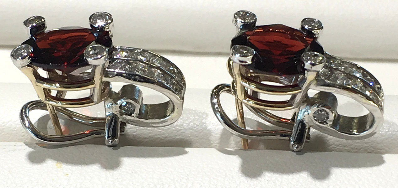 2 Tone Earrings with Garnets & Diamonds