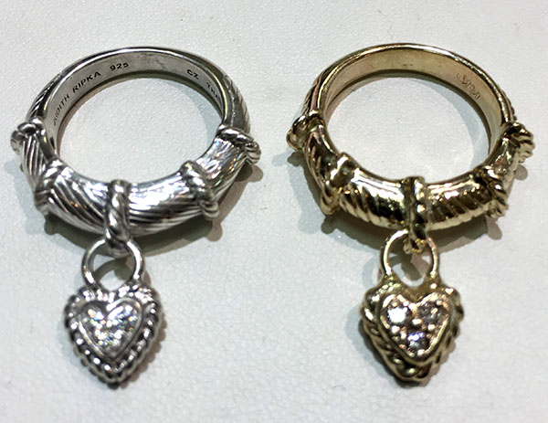 Yellow Gold Heart Ring with Diamond made for customer to look similar to silver model