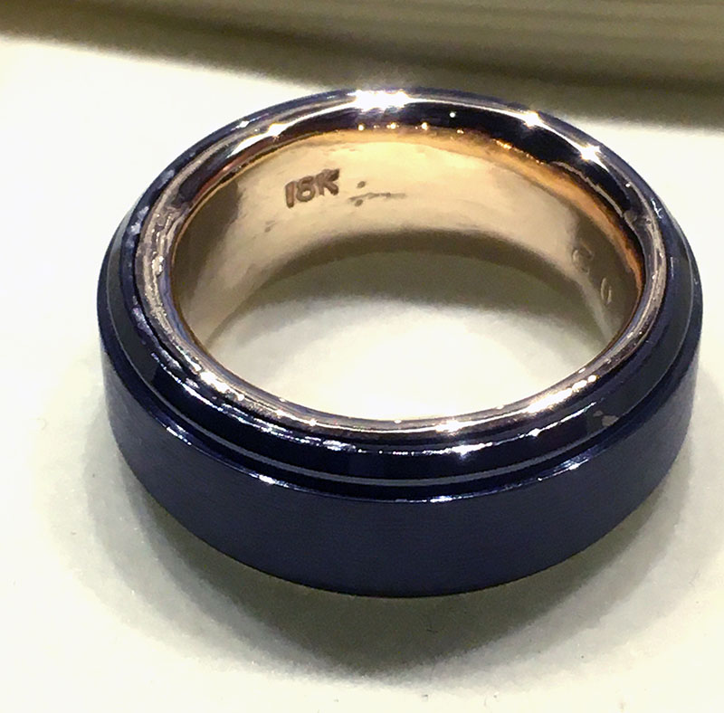 Black Tungsen 8 mm with 18K yellow gold