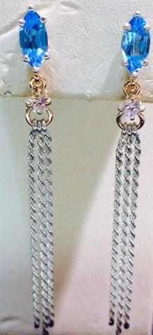 Blue Topaz Earrings with white & rose gold