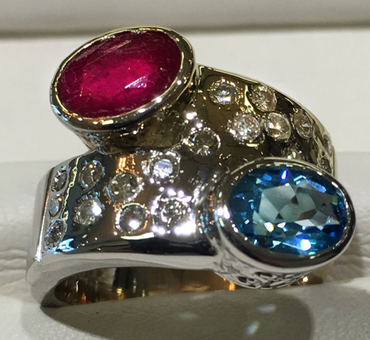 2 Tone Bypass Ring with Topaz, Ruby & Diamonds