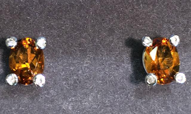 Citrine earrings with diamonds
