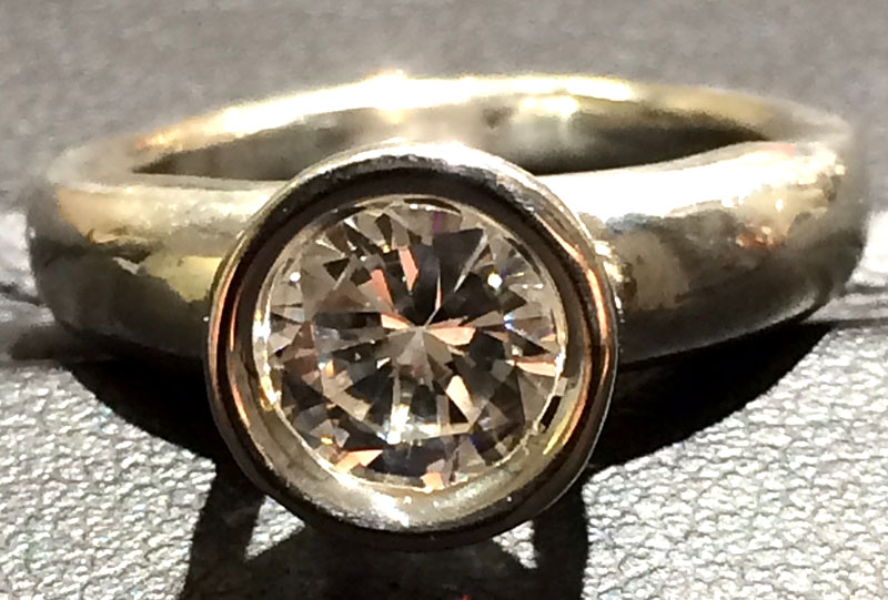 Solitary Diamond Bezel Ring (Front)