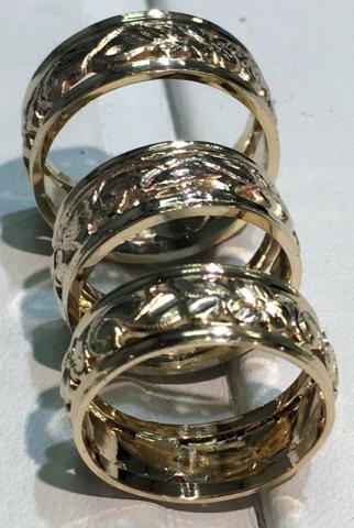 Hand-made Scrolling Leaf Gold Band