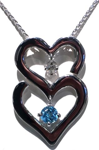 White Gold Heart Pendant with diamond & Swiss blue topaz