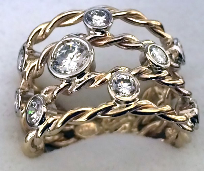 Yellow Gold Multi Diamond Ring with white gold bezel