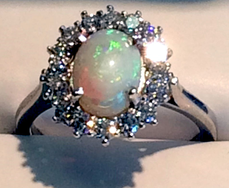 White Gold Opal Halo Ring