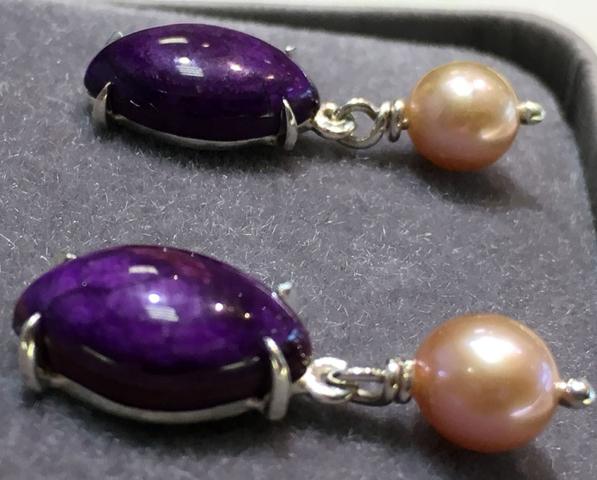 Purple Cabochon Earrings