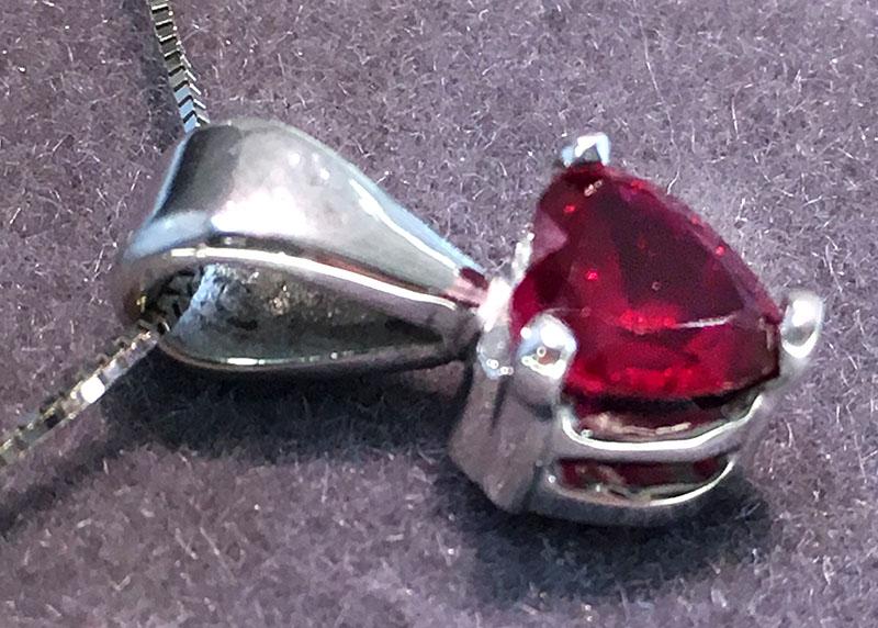 White Gold Ruby Heart Pendant