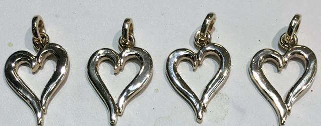 White Gold Small Heart Pendants
