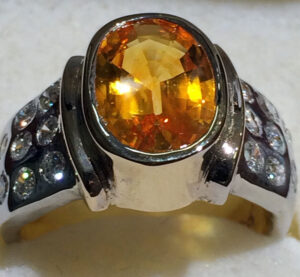 Yellow Sapphire Ring with flush setting diamonds