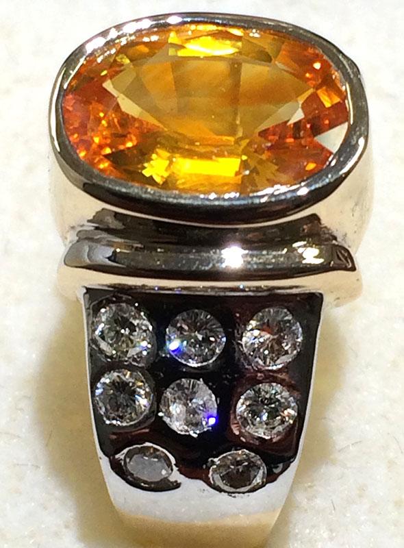 Yellow Sapphire Ring with flush setting diamonds