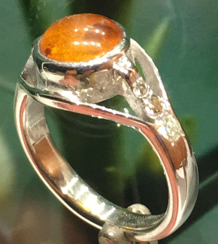 White Gold Amber Ring with Diamonds