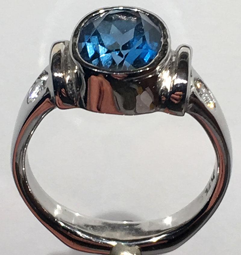 White Gold London Blue Topaz Ring with flush setting diamonds