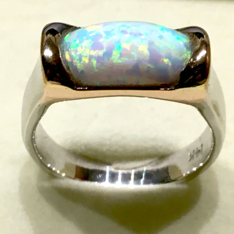 White Gold Opal Ring with rose gold bezel